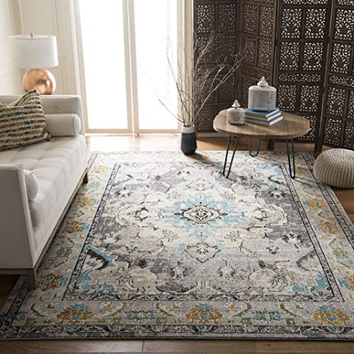 (Safavieh Monaco Collection MNC243G Vintage Oriental Grey and Light Blue Distressed Area Rug (9' x 12'))