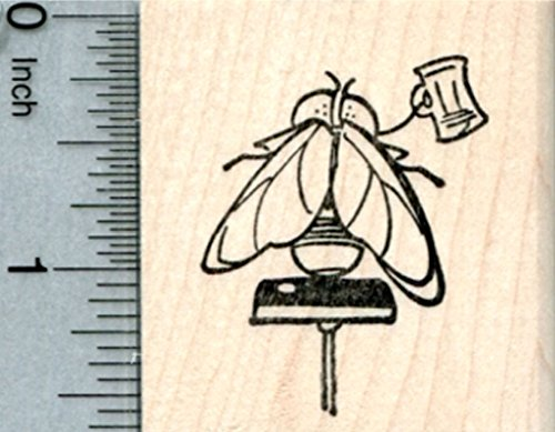 Bar Fly Rubber Stamp, at Tavern, on Stool, Ale House Series