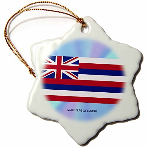 Christmas Ornament Sandy Mertens Hawaii Travel Designs - State Flag of Hawaii (PD-US) - Snowflake Porcelain Ornament -