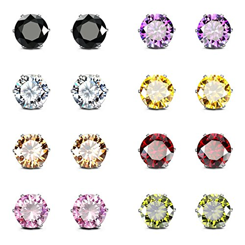 JewelrieShop Stainless Steel CZ Post Earrings Set Birthstone Studs for Women Piercing Hypoallergenic Multi Color Round Square Cuts Cubic Zirconia Sensitive Ears Earrings (8Pairs,6mm,Round)