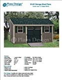 6' x 16' Deluxe Shed Plans, Lean To Roof Style Design # D0616L, Material List and Step By Step Included