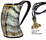 Sun & Moon Viking Drinking Horn Cup Tankard Handcrafted Ox Cup Goblet - Drink Mead & Beer Like Game of Thrones Heroes with This Large Ale Stein A Perfect Present for Real Men (20oz)