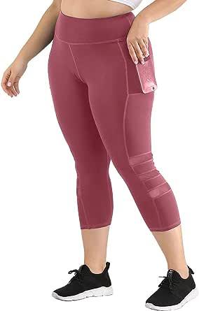 Uoohal Women's Plus Size Active Leggings High Waist Yoga Pants with Pocket Tummy Control Running Workout Athletic Legging