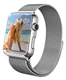 Apple Watch Strap, GEOTEL® 42mm Milanese Loop Stainless Steel Bracelet Strap Band for Apple Watch 42mm All Models with Unique Magnet Lock(No Buckle Needed) (Silver)
