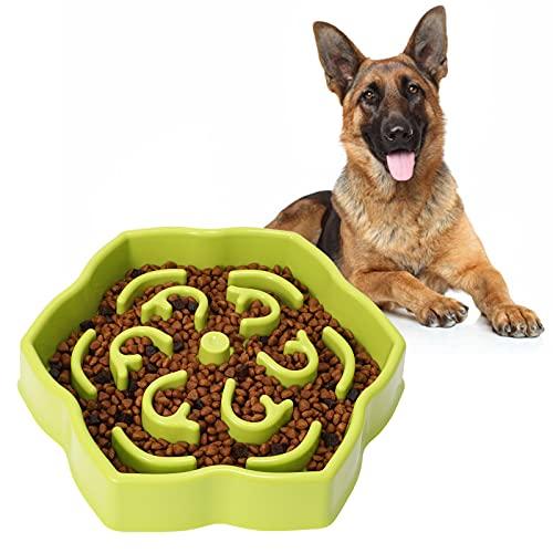 Slow Feeder Dog Bowl, Slow Feeding Petal Maze Dog Bowl, Healthy Diet Slow Eating Pet Bowl, Anti-Gulping Slow Feeder Stop Bloat Bowl for Small & Medium Size Dogs Green