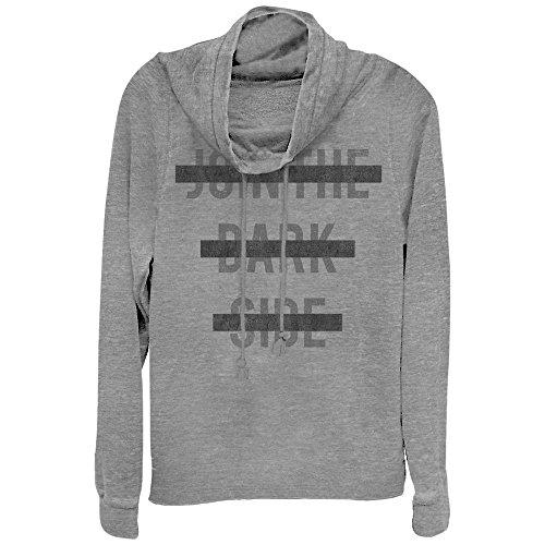 Fifth Sun Star Wars Juniors' Censored Join The Dark Side Gray Heather Cowl Neck Sweatshirt