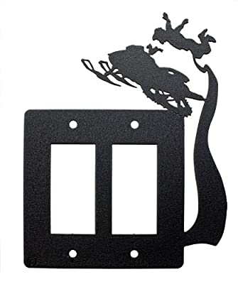 """Snowmobile Freestyle """"Rock Solid"""" Double Rocker (GFI) Light Switch Plate Cover"""
