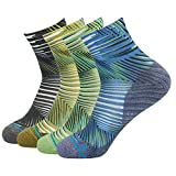 HUSO Unisex Striped Print Athletic Quarter / Ankle Running Socks 4 Pairs