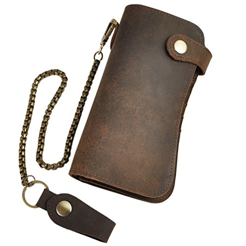 Leaokuu Mens Genuine Leather Vintage Wallet Organizer Checkbook Card Case (W1088 Brown) at Amazon Mens Clothing store: