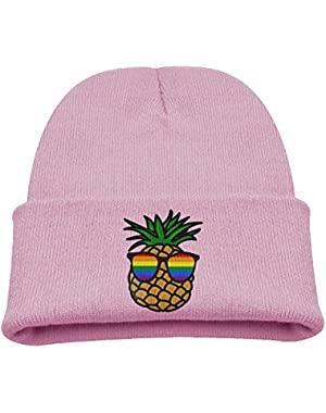 Gay Pride Pineapple Rainbow Kid's Hats Winter Funny Soft Knit Beanie Cap, Unisex