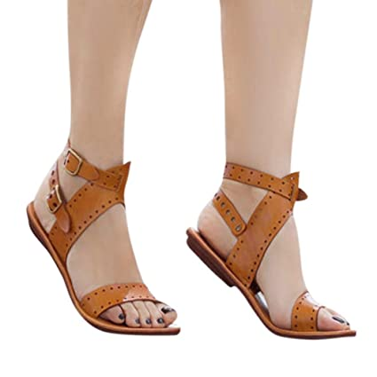 2cf077fb19 Image Unavailable. Image not available for. Color: Office Flat Sandals  Women Roman Calceus Shoes Peep Toe Low Heel ...