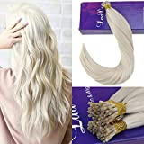 LaaVoo 18' Lightest Blonde Remy I Tip Real Human Hair Extensions 50g/Package Straight I Tip Cold or Hot Fusion Total 50 Strands