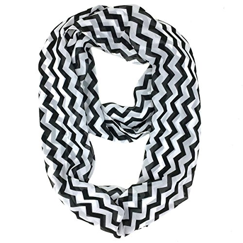 (Tapp C. Vertical Chevron Sheer Infinity Scarf - Black/White)