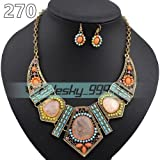 270# Orange Fashion Women Jewelry Pendant Crystal Choker Chunky Statement Chain Bib Necklace