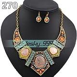 270# Orange Fashion Women Jewelry Pendant Crystal Choker Chunky Statement Chain Bib Necklace