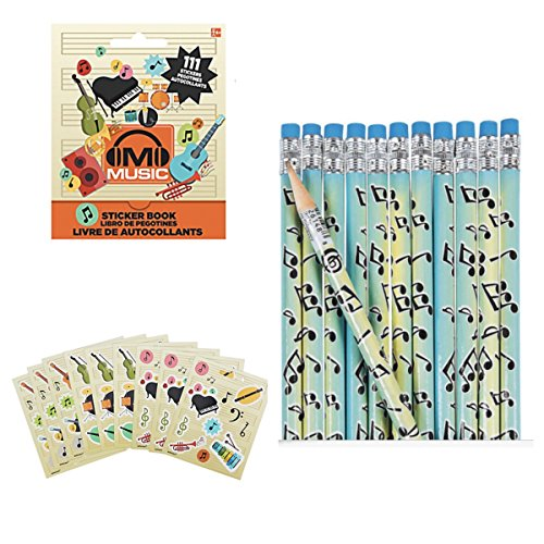 Musical Supply - MUSIC Teacher Supplies - 2 Dozen (24) Musical NOTE Pencils & 111 STICKERS in Mini Book - INCENTIVE Awards RECOGNITION Recital PARTY FAVORS