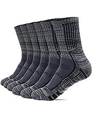 TSLA Men's 6-Pairs Atheltic Mid-Calf Cushioned Sports Comport Socks