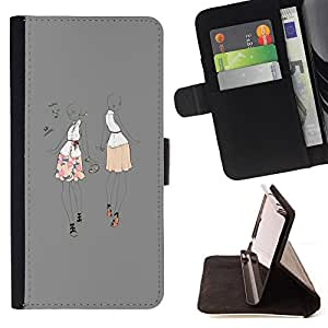 - grey music dance party fashion woman - - Prima caja de la PU billetera de cuero con ranuras para tarjetas, efectivo desmontable correa para l Funny HouseFOR Apple Iphone 6