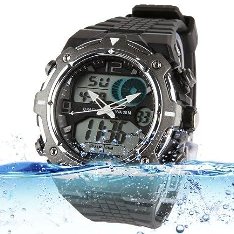 Sport Waterproof Reloj con Stainless Steel Back Carcasa (Black)