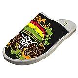 BVVST Bedroom Shoes Jamaican Skull Flag Warm Indoor House Slippers For Women/Men