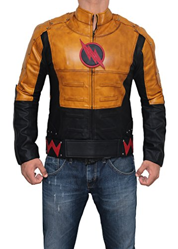 Mens Reverse Flash Leather Cosplay Jacket | Yellow, (Reverse Flash Costume Halloween)