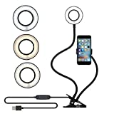 Soobuy Cell Phone Holder with Selfie Ring Light for Live Stream and Makeup, 3 Light Mode & 10 Level Brightness Phone Clip Holder for Video Recording, Video Call, Vlog, Bedroom, Office, Kitchen – Black