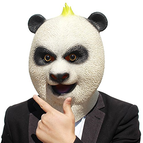 PartyCostume Deluxe Novelty Halloween Costume Party Latex Animal Head Panda Mask Christmas (Betty White Mask Halloween)