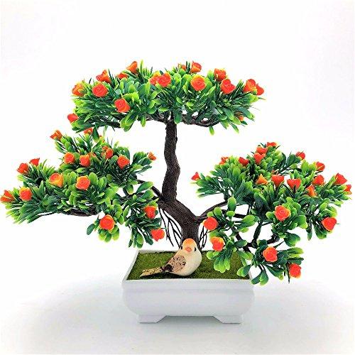 BROTEAM Bonsai Artificial Flowers decorative tree artificial rose for Home Decor (Orange)