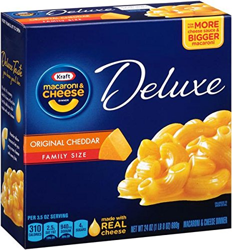 KRAFT Deluxe with Original Cheddar Cheese Sauce Macaroni & Cheese Dinner, 24 oz -  Kraft Heinz Foods Company, 0002100002317