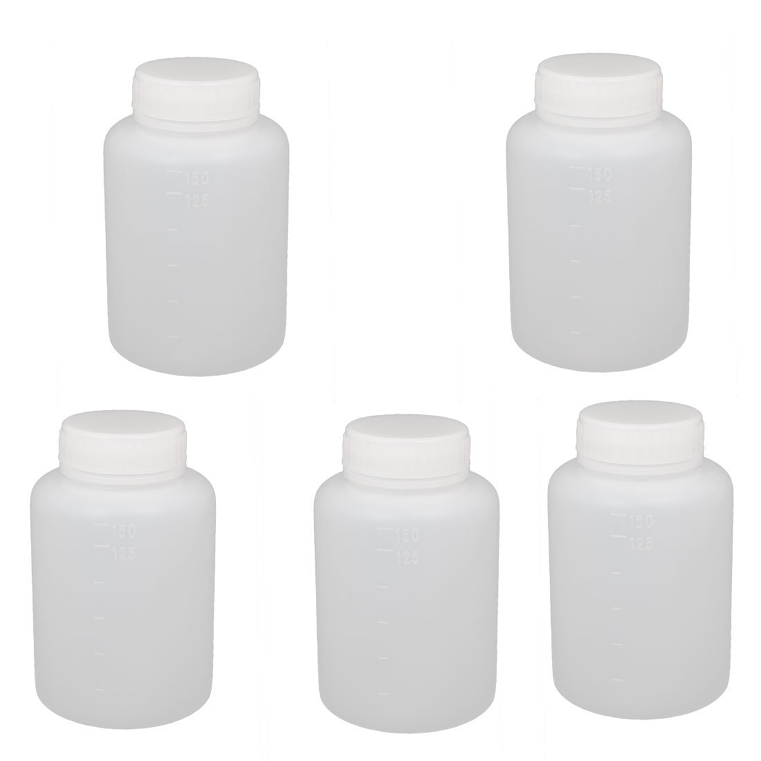 uxcell 5Pcs 150ml Plastic Wide Mouth Laboratory Reagent Bottle Sample Sealling Bottle White