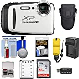 Fujifilm FinePix XP130 Shock & Waterproof Wi-Fi Digital Camera (White) with 64GB Card + Battery +Charger + Cases + Tripod + Float Strap + Ultimate DealsKit