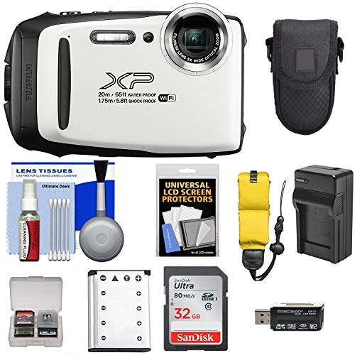 Fujifilm FinePix XP130 Shock & Waterproof Wi-Fi Digital Camera (White) with 64GB Card + Battery +Charger + Cases + Tripod + Float Strap + Ultimate DealsKit (Xo Tablet Case)