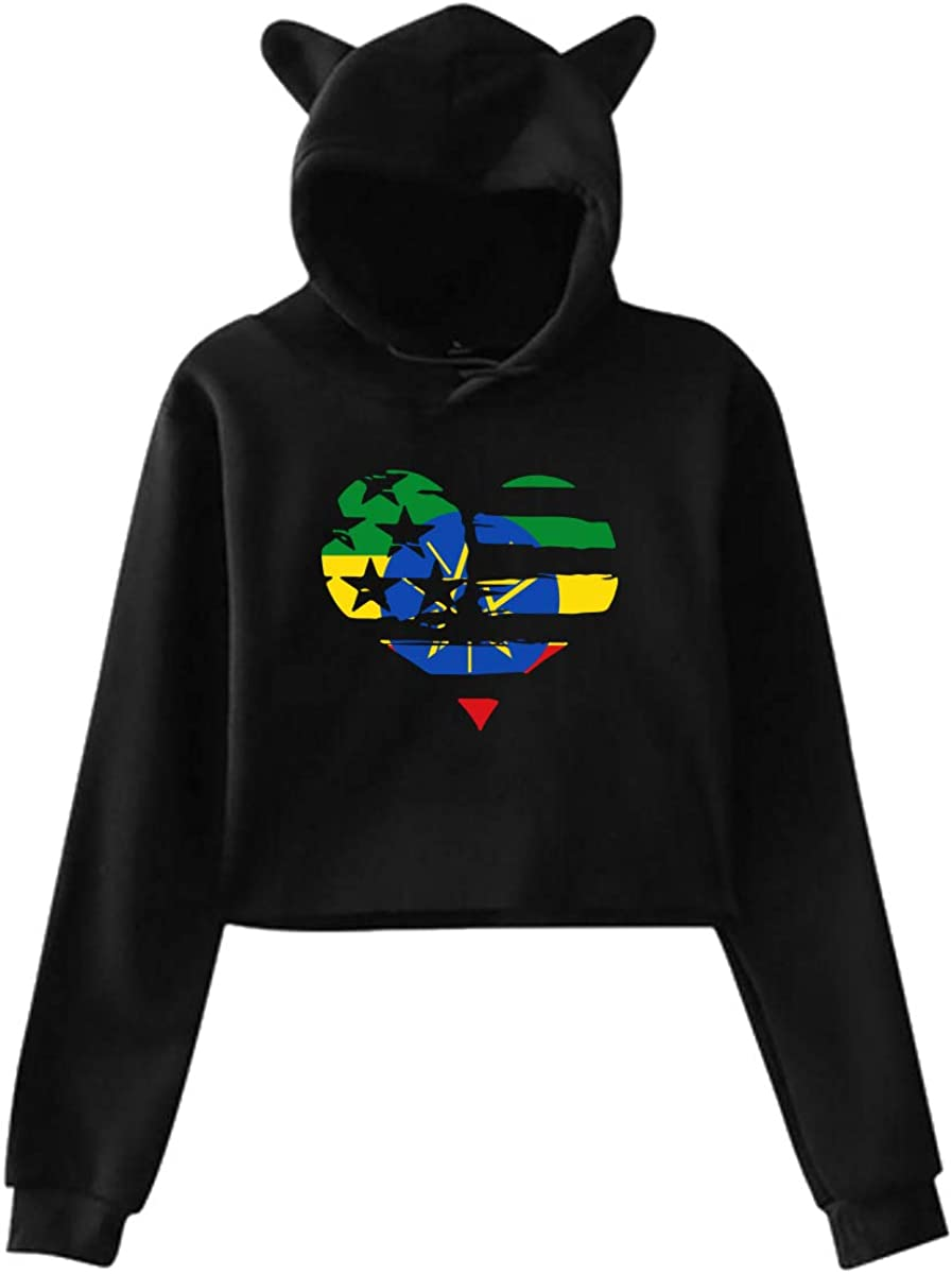 Girls Cute Cat Ear Hoodie Sweatshirts Ethiopia in USA Flag Love Heart Dew-Navel Hooded Pullover