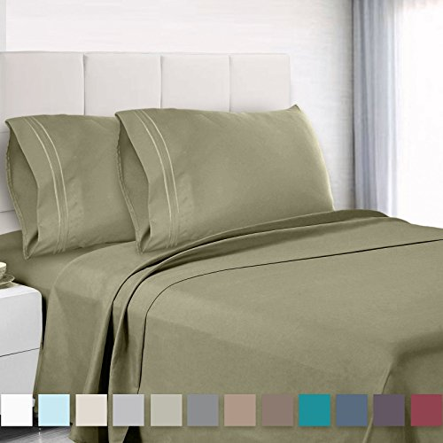 Cal King Olive - Premium Cal King Sheets Set - Green Sage Olive Hotel Luxury 4-Piece Bed Set, Extra Deep Pocket Special Super Fit Fitted Sheet, Best Quality Microfiber Linen Soft & Durable Design + Better Sleep Guide