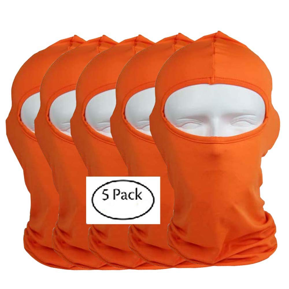 2018 5pcs lot Orange Windproof Ski Mask Cold Weather Face Mask Motorcycle Neck Warmer or Tactical Ultimate Thermal Retention in Outdoors Super Comfortable Hypo-allergenic Moisture Wicking by CxYuan