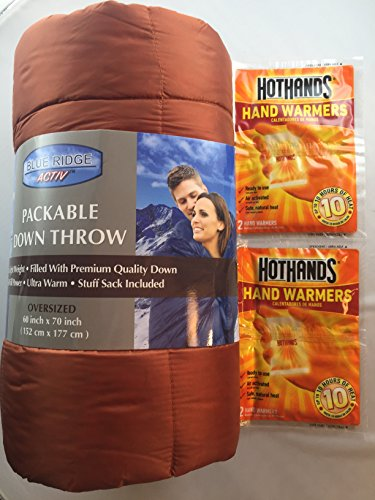 Oversized Packable Down Throw With Stuff Sack And Hot Hands Hand Warmer (Hot Stuff Hand Warmers)