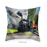 VROSELV Custom Cotton Linen Pillowcase Old Vintage Steam Engine Arriving At The Train Depot - Fabric Home Decor 24''x24''