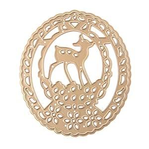 ydzn ciervos en círculos (Metal tarjeta de papel plantillas de corte diseño de álbum de recortes moldes DIY Craft