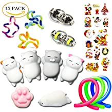Sensory Toys Set, 15 Pack Stress Relief Fidget Hand Toys for Adults and Kids, Sensory Fidget and Squeeze Widget for Relaxing Therapy - Perfect for ADHD ADD Anxiety & Autism