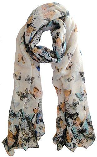 Crème Vintage Style écharpe papillon animaux de mode de dames Echarpes Avec Hanging Heart Gift