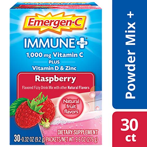 Emergen-C Immune+ (30 Count, Raspberry Flavor) System Support Dietary Supplement Fizzy Drink Mix With Vitamin D, 1000mg Vitamin C plus Antioxidants & Electrolytes, 0.32 Ounce Packets ()