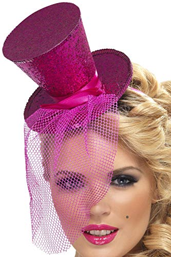 Fever Women's Mini Top Hat on Headband, Hot Pink One Size, 21194 ()
