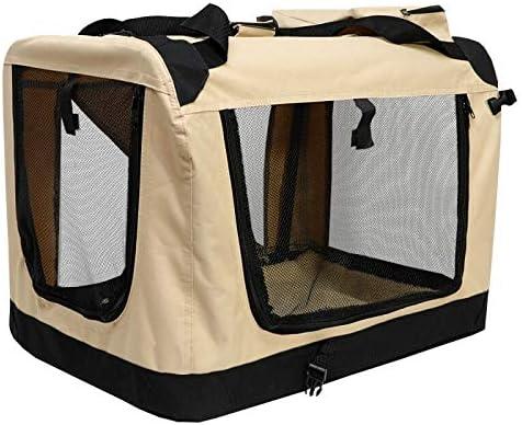 PETDOG Jaula para Perros Perrera de Coche Bolsa de Transporte al Aire Libre Bolsa para Mascotas Jaula de Viaje en Coche Carpa para Perros Perro Grande Plegable,Beige,M28 x20: Amazon.es: Hogar