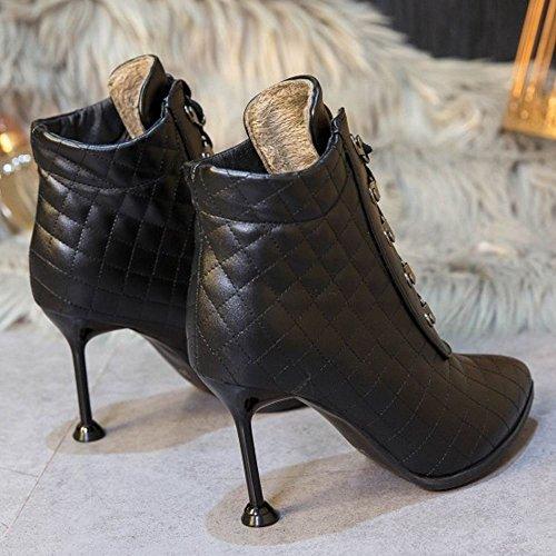Femmes Mode Hauts Courtes Talons Bottes Lacer Zanpa pn1zxn