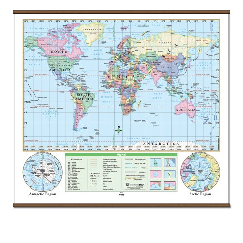 World Essential Wall Map Railed (Essential Classroom Wall Maps)