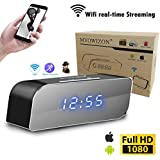 MVOWIZON Spy Camera Wireless Hidden Camera with Alarm Clock N1 WIFI Control Full HD 1080P Spy Camera Motion Detection Alarm Wireless IP Security Camera Nanny Cam Black