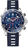 Omega Seamaster Men's Watch Stainless Steel Case on Dark Blue Rubber Strap