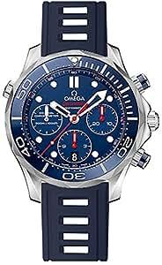 Omega Seamaster Men's Watch Stainless Steel Case on Dark Blue Rubber Strap