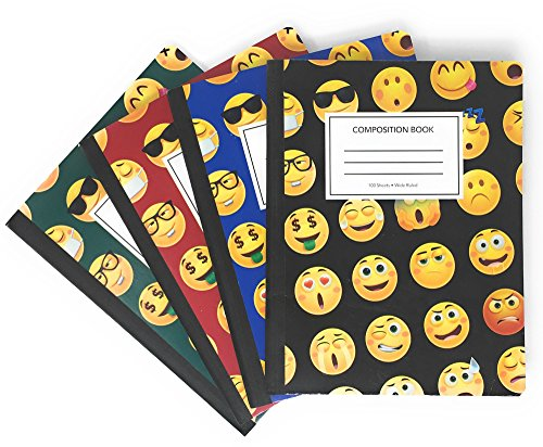 """Book Sox EMOJI Composition Notebooks, Wide Ruled, 100 sheets, 9-3/4"""" x 7-1/2"""", 4-Pack"""