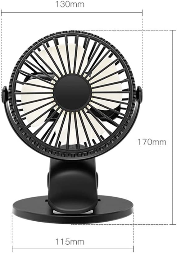 YIWU Desktop USB Fan Color : Black Clamp Silent Fan 360/° Rotating,Air Fan Home ABS Electric Computer Table Fan